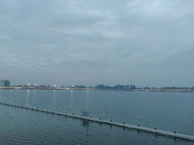 Evening view lake. Water bluewater royalty free stock photography