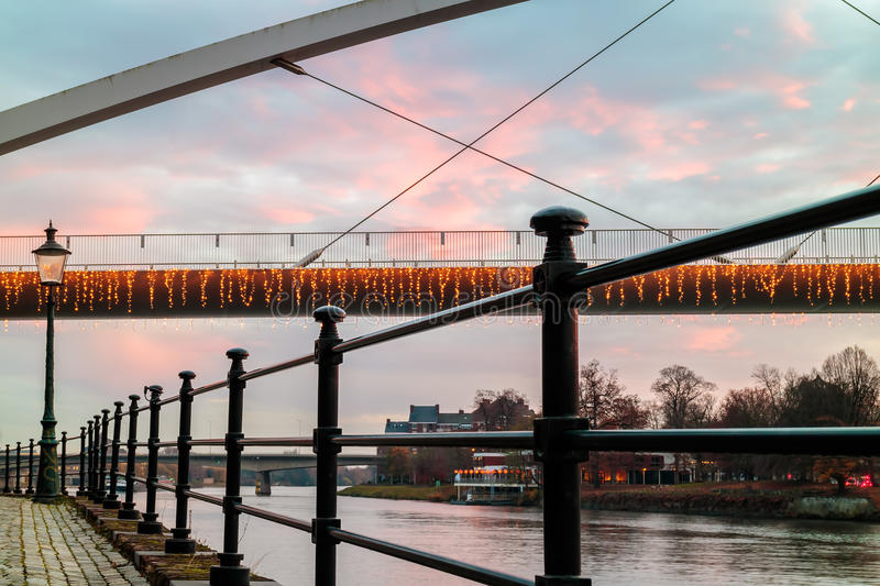 Evening view at the Maas river in the Dutch city of Maastricht w stock photography