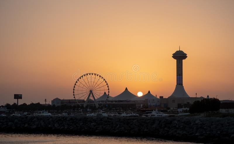 Evening view of Marina Eye and Marina Mall royalty free stock images
