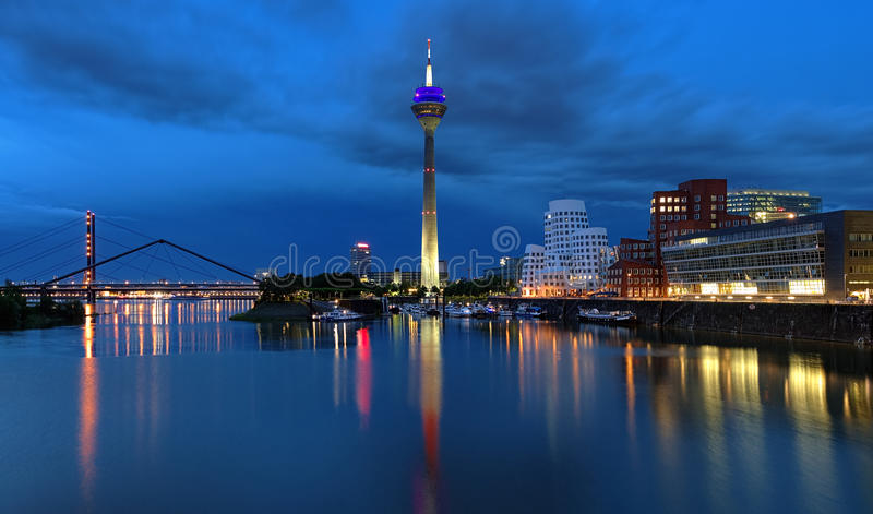 Download Evening View Of The Media Harbor In Dusseldorf Stock Image - Image: 25695515