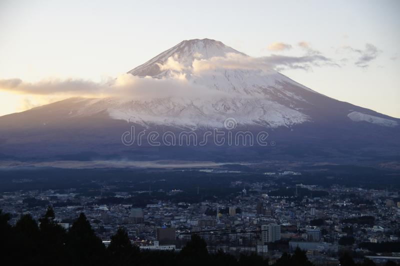 Evening view of Mount Fuji, Japan. royalty free stock images
