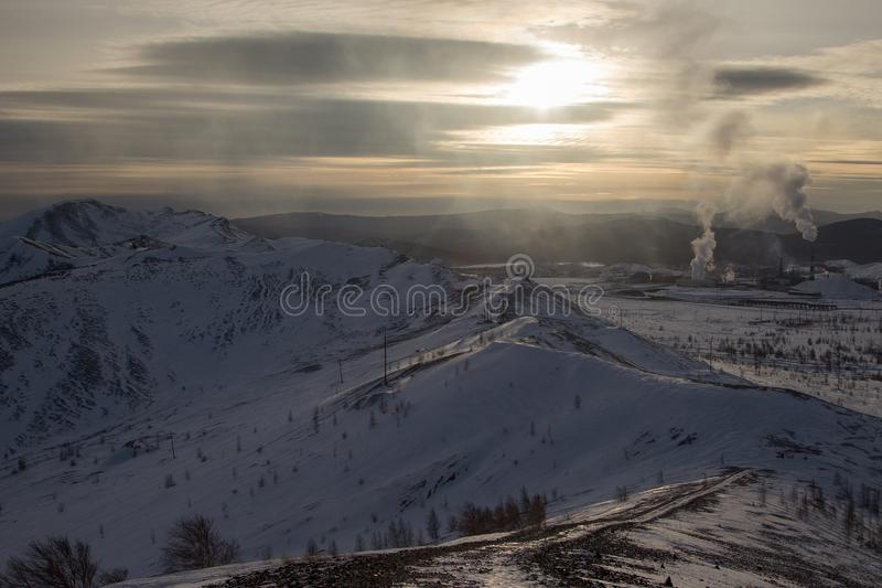 Evening view of mountain Karabash. And landscape of the Ural Mountains royalty free stock photos