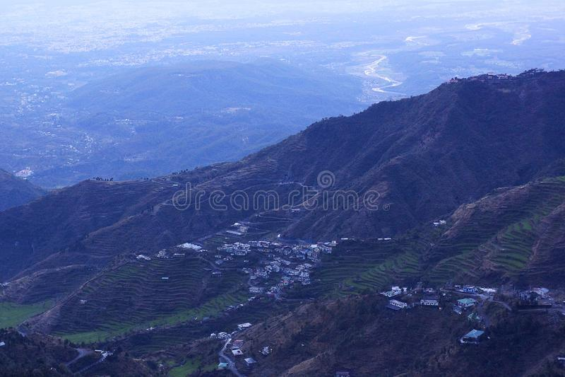 Evening view from Mussoorie over looking Nanital in the foot hills, Uttarakhand, India royalty free stock image