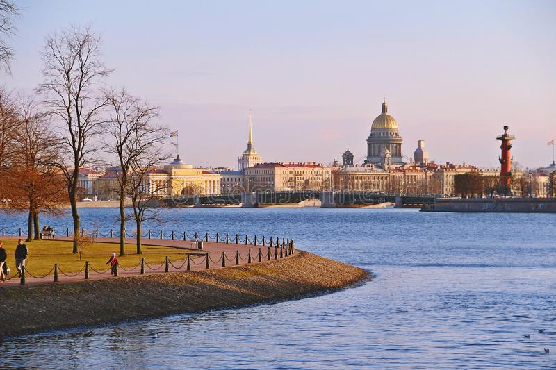 Evening view from Neva river in Saint Petersburg, Russia royalty free stock photography