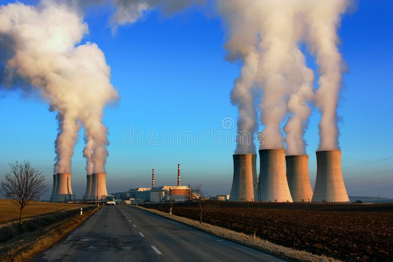 Evening view of nuclear power plant Dukovan royalty free stock images