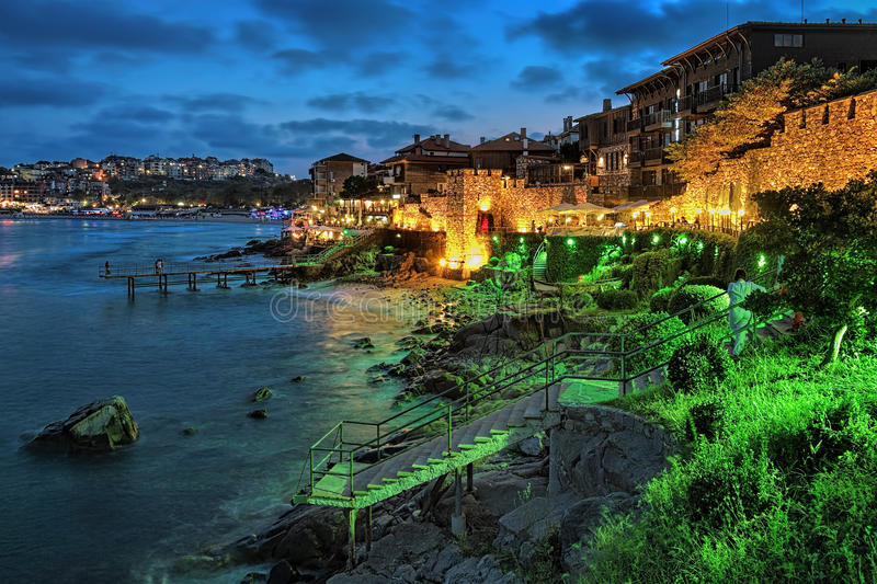 Evening view of Old Town of Sozopol with Southern Fortress Wall, Bulgaria. Evening view of Old Town of Sozopol (former ancient town of Apollonia) with Southern royalty free stock photo
