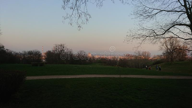 Evening View at a park on a hill over City royalty free stock images
