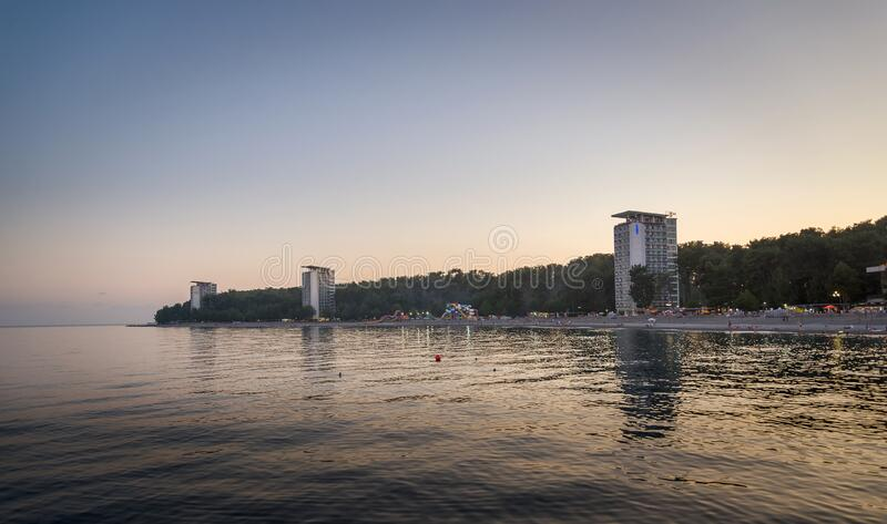 Evening view of Pitsunda resort. Abkhazia - August 28, 2019 royalty free stock photo