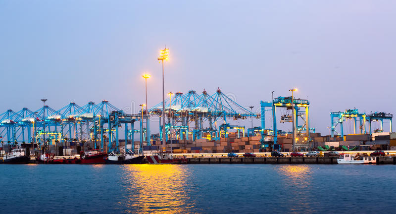 Evening view of Port with cranes royalty free stock images