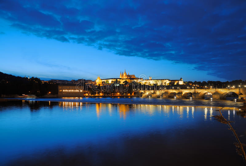 Download Evening View Of Prague Castle And Charles Bridge Stock Photo - Image of europe, republic: 18228136