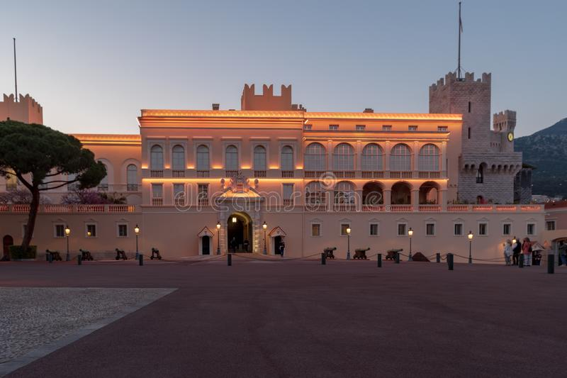 Prince`s Palace of Monaco. Evening view of the Prince`s Palace - is the official residence of the Prince of Monaco royalty free stock photos