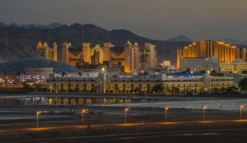Evening view on resort hotels ,Eilat stock image