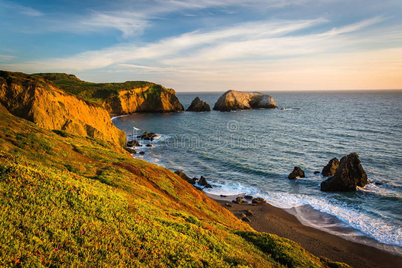 Evening view of Rodeo Beach, at Golden Gate National Recreation stock images