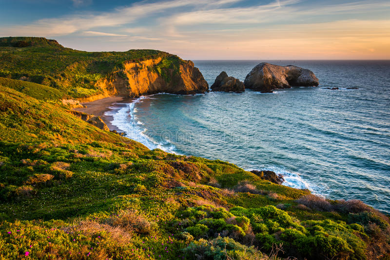 Evening view of Rodeo Beach, at Golden Gate National Recreation royalty free stock photo