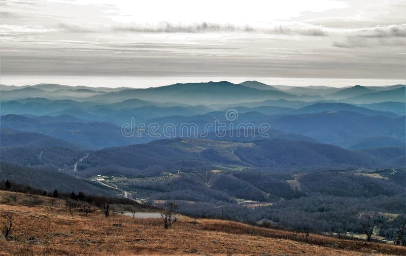 Appalachian Mountains. Evening view from the southern Appalachians from the top of Whitetop Mountain in southern Virginia royalty free stock image