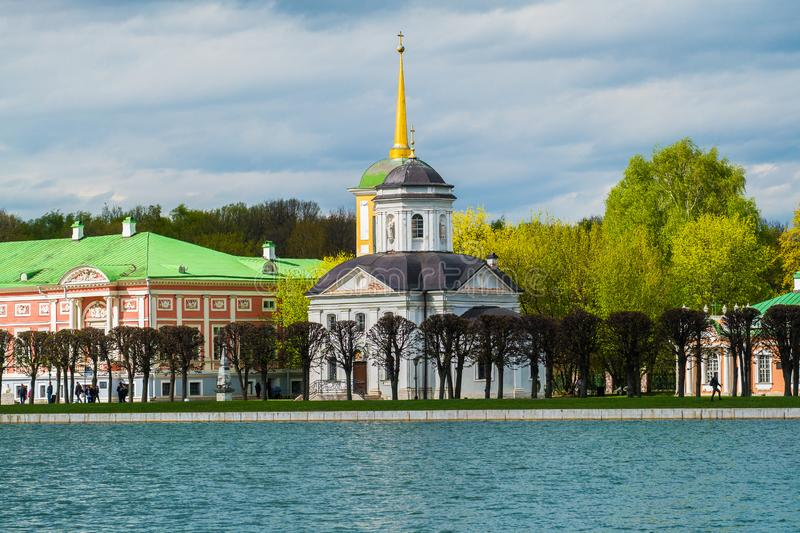Evening view of the State reserve museum Kuskovo, former summer country estate of the 18th century. Moscow. Russia. stock photos