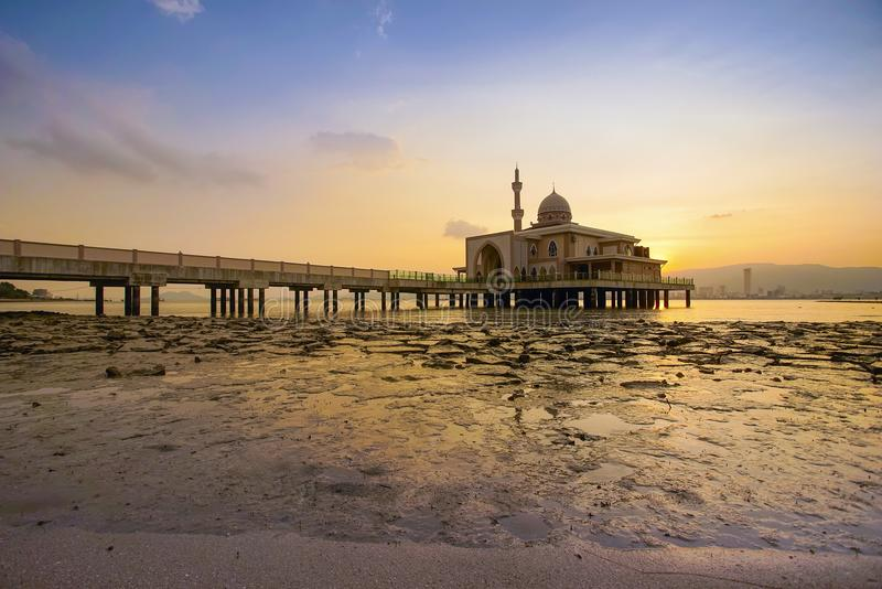 An Evening view during sunset at the Floating Mosque,Penang Port. Seberang Perai, Malaysia royalty free stock image