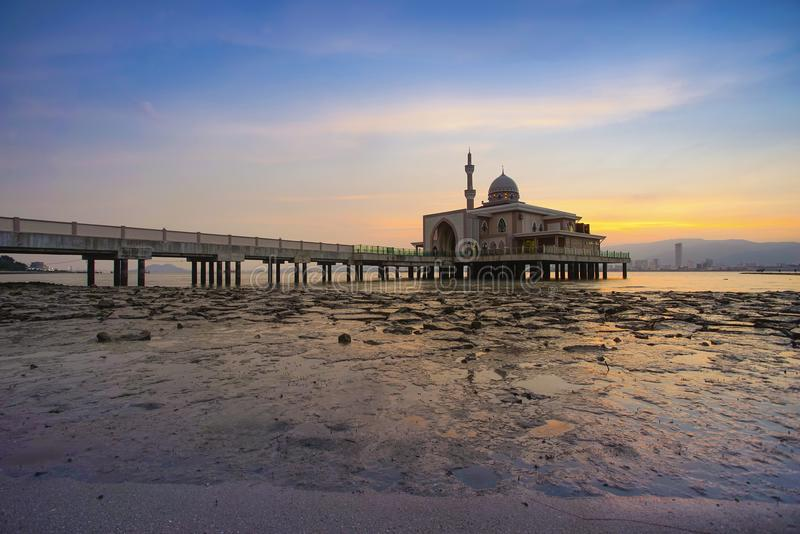 An Evening view during sunset at the Floating Mosque,Penang Port. Seberang Perai, Malaysia stock image