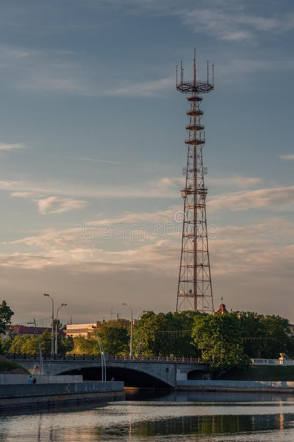 evening view of the television tower from Minsk Gorky Park stock photos