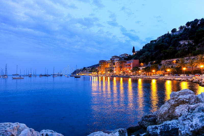 Evening view of Villefranche sur mer in the French Riviera.  stock photos