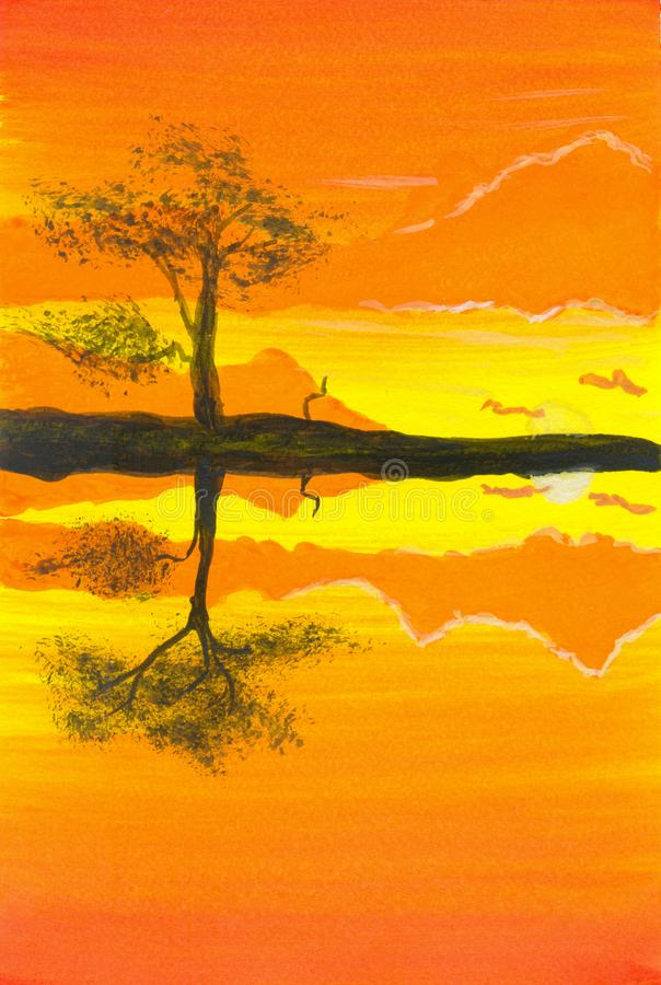 The evening views of the tropical are black silhouettes of tree reflecting the water vector illustration