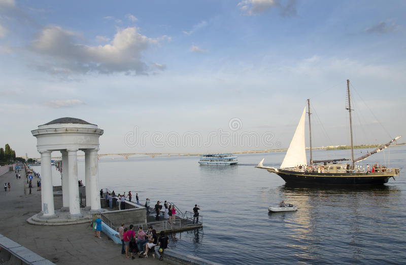 In the evening on the Volga royalty free stock photo