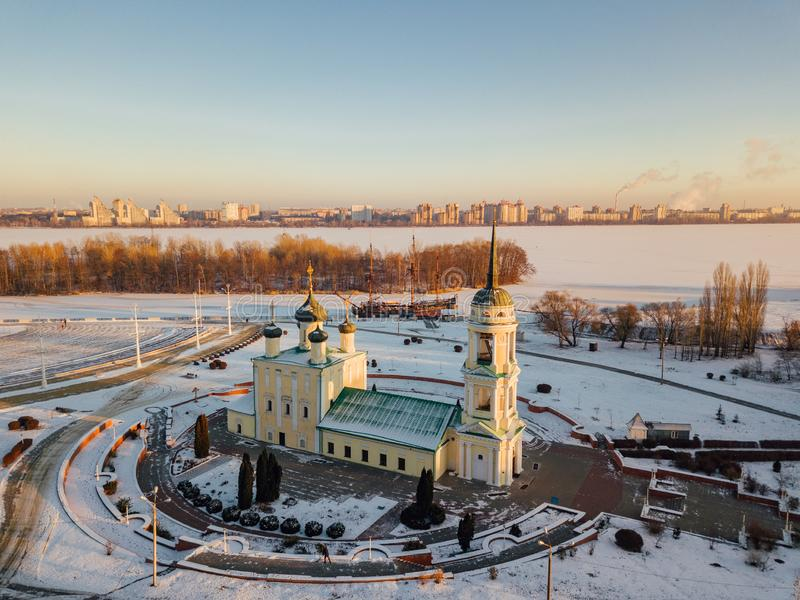 Evening Voronezh, aerial view. Admiralteiskaya square, Assumption Admiralty Church and monument of first Russian ship stock images