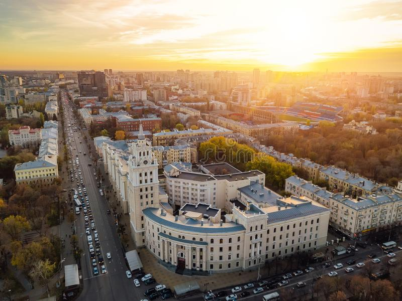 Evening Voronezh. Sunset. South-East Railway Administration Building. Aerial view from drone.  royalty free stock photography
