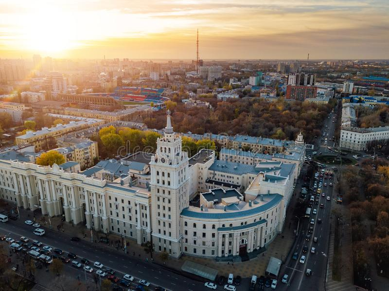 Evening Voronezh. Sunset. South-East Railway Administration Building. Aerial view from drone.  royalty free stock images