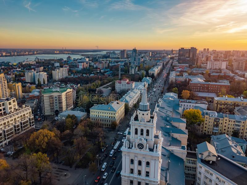 Evening Voronezh. Sunset. South-East Railway Administration Building and Revolution prospect. Aerial view from drone.  royalty free stock images