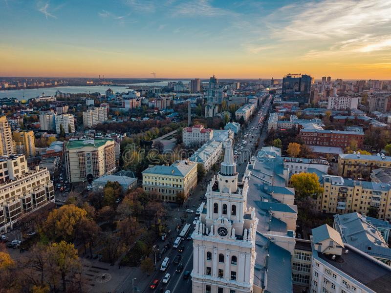 Evening Voronezh. Sunset. South-East Railway Administration Building and Revolution prospect. Aerial view from drone.  royalty free stock photo