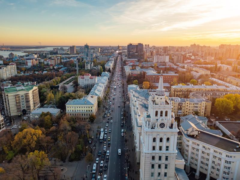Evening Voronezh. Sunset. South-East Railway Administration Building and Revolution prospect. Aerial view from drone.  royalty free stock photos
