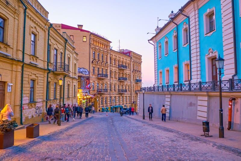 The evening walk along Andriyivskyy Descent in Kiev, Ukraine stock photo