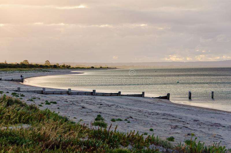 Evening walk on the beach - Busselton stock photos