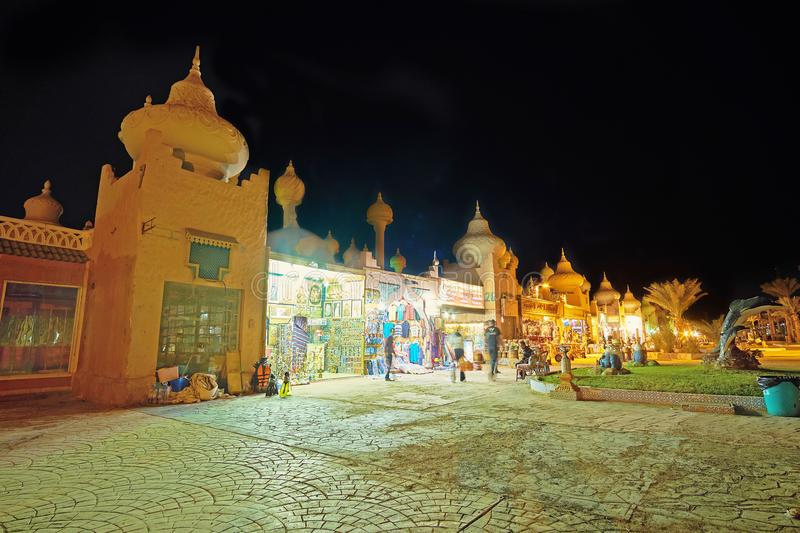 The evening walk in 1001 nights market, Sharm El Sheikh, Egypt. SHARM EL SHEIKH, EGYPT- DECEMBER 15, 2017: 1001 nights market is the perfect place for the royalty free stock photo