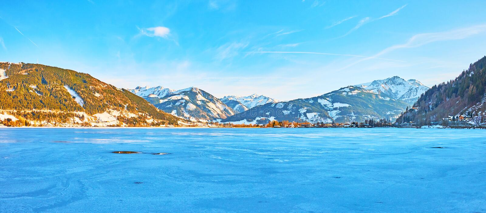 Evening walk by Zeller see lake, Zell am See, Austria stock photo