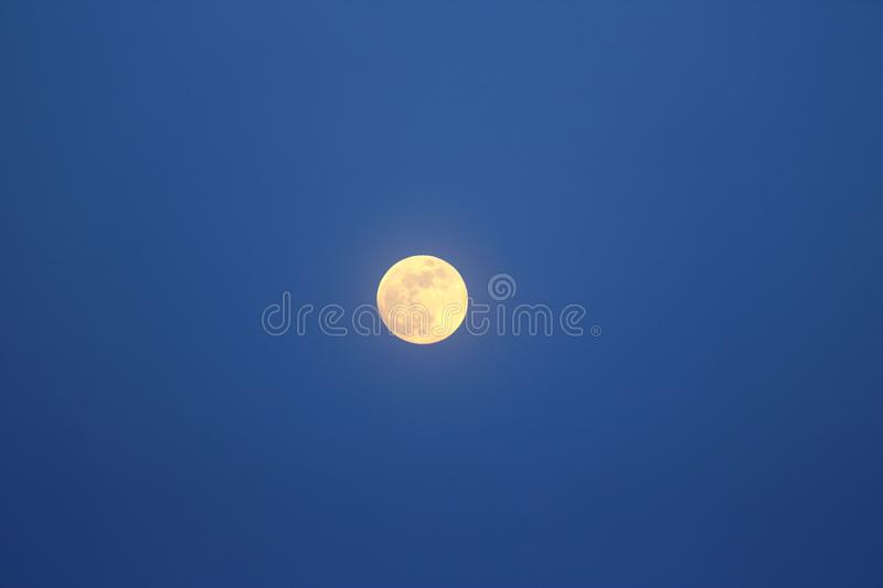 Evening winter landscape with a full moon on purple sky.  royalty free stock images