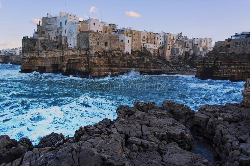 Evening winter scenic sight in Polignano a Mare royalty free stock image