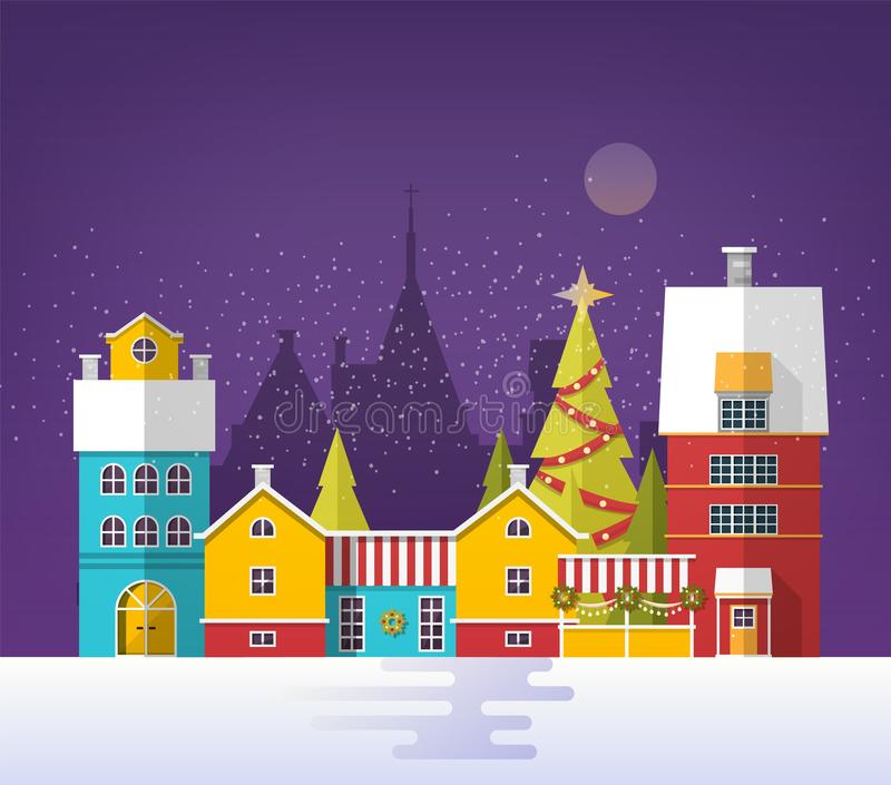 Evening winter urban landscape with old city, town or village. Snowy cityscape with buildings and trees decorated for. Christmas or New Year celebration royalty free illustration