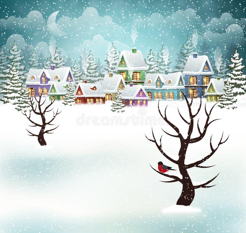 Download Evening Winter Village Scene Stock Vector - Illustration of roof, scene: 82396201