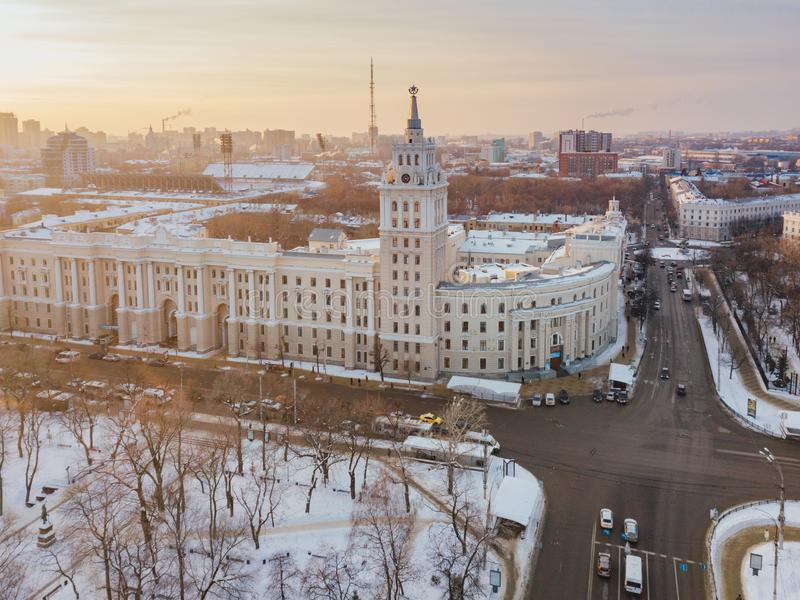 Evening winter Voronezh. Sunset. South-East Railway Administration Building and Revolution prospect. Aerial view from drone.  royalty free stock photo