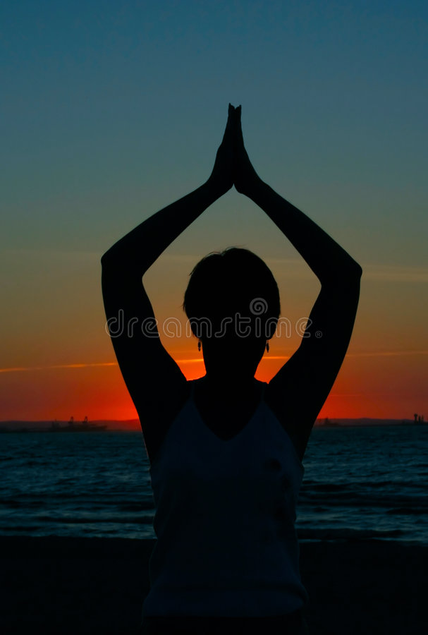 Download Evening yoga - #3 stock image. Image of girl, beach, landscape - 251437