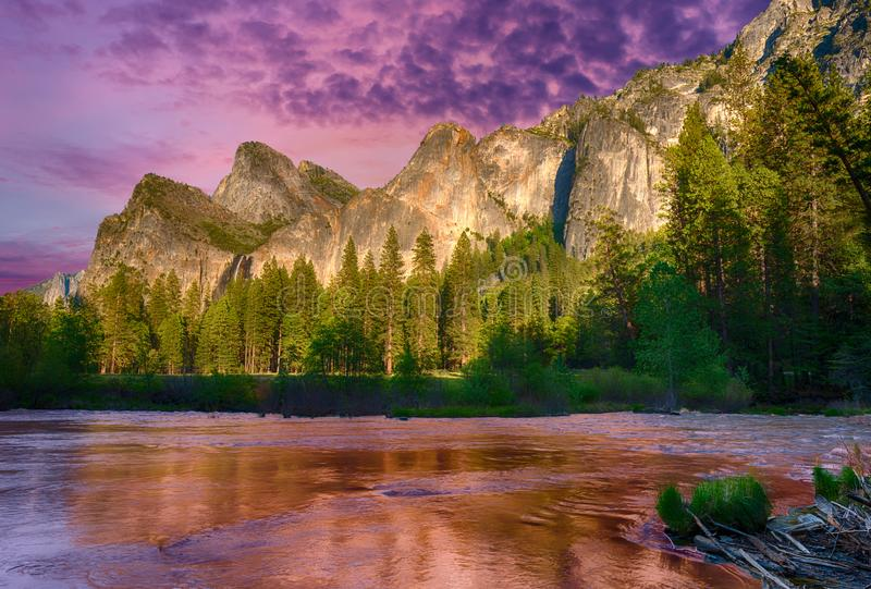 Evening in Yosemite valley stock photography