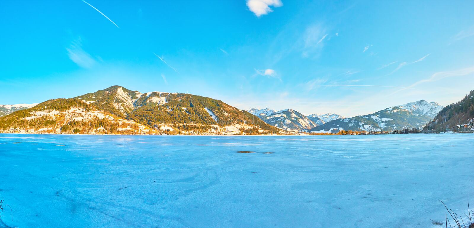 Evening on Zeller see lake, Zell am See, Austria royalty free stock photography