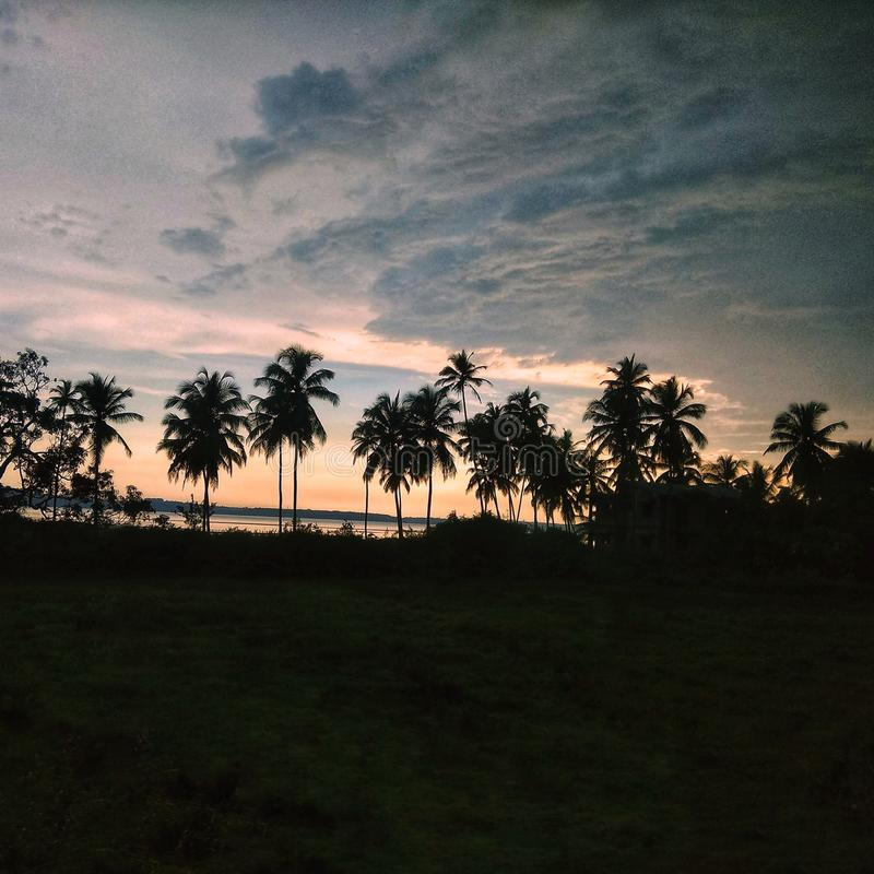 Evenings are the best part of the day. Sunset evenings in goa stock photo