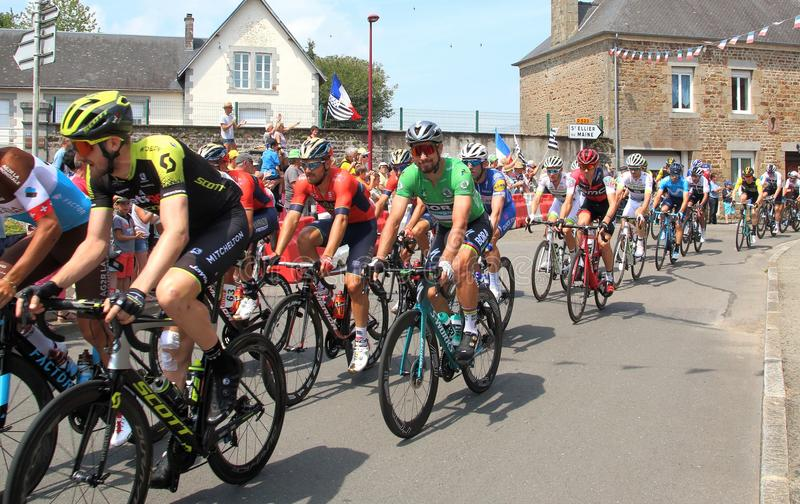 Tour de France cyclists with PETER SAGAN in the green jersey 2018 royalty free stock image