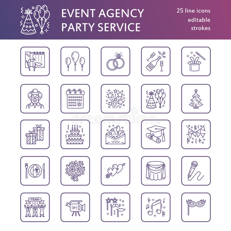 Event agency wedding organization vector line icon party service download event agency wedding organization vector line icon party service catering birthday cake junglespirit Choice Image