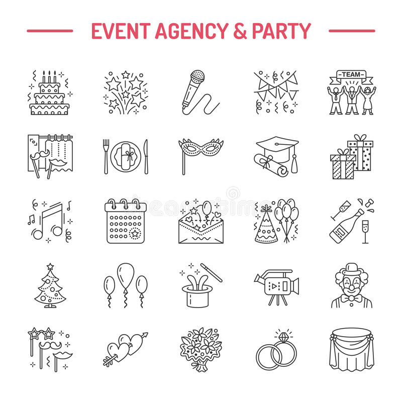 Event agency wedding organization vector line icon. Party service - catering, birthday cake, balloon decoration, flower royalty free illustration
