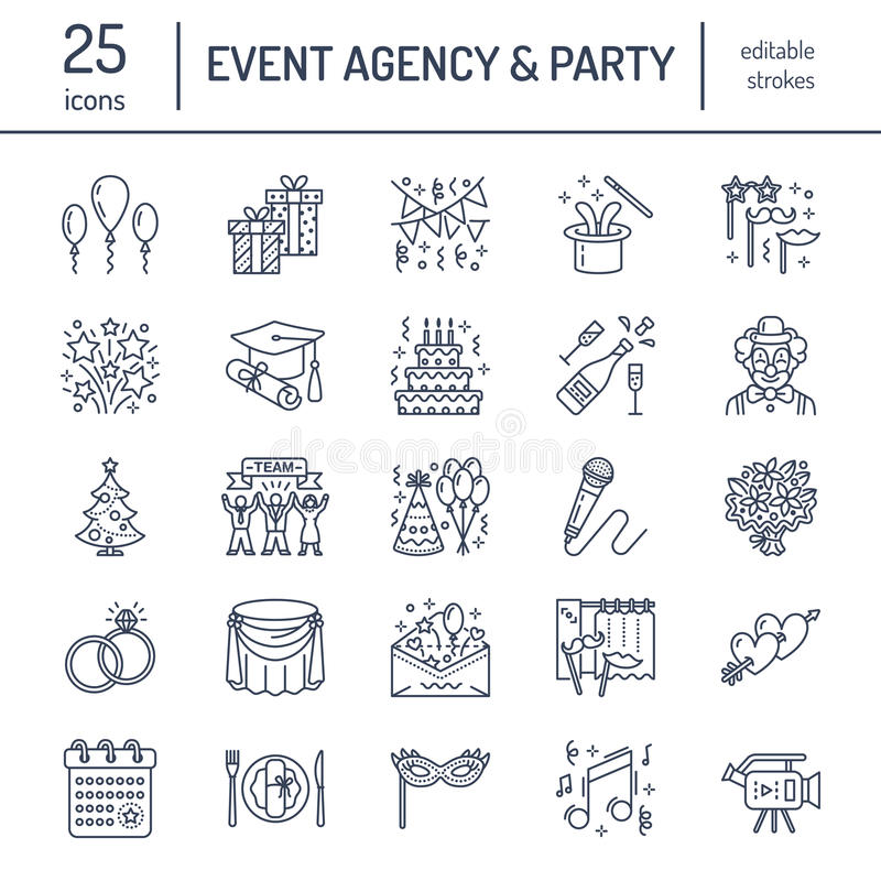 Event agency, wedding organization vector line icon. Party service catering, birthday cake, balloon decoration, flower stock illustration