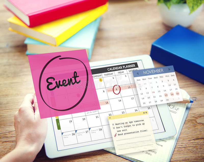 Event Celebration Occasion Happening Schedule Concept stock images